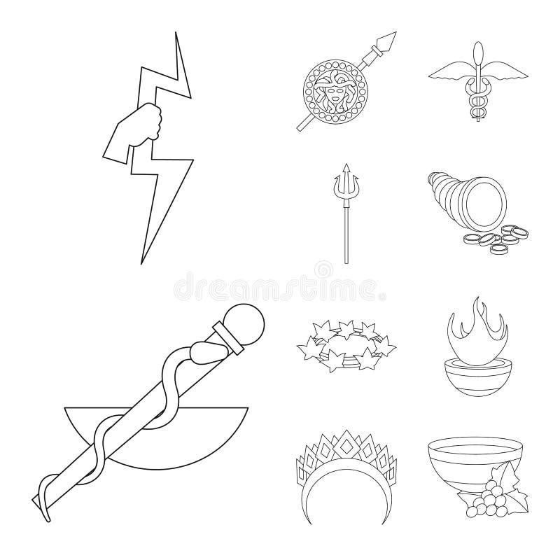 Дизайн вектора мифологии и значка бога Собрание мифологии и иллюстрации вектора запаса культуры иллюстрация вектора
