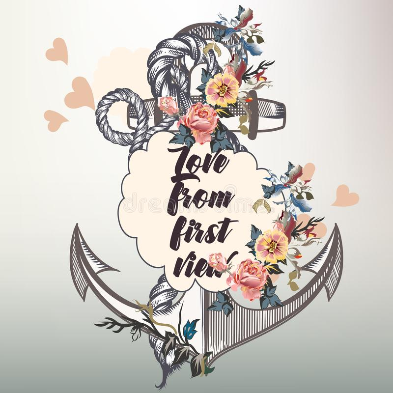 Дизайн вектора моды анкера с морскими анкером и цветками бесплатная иллюстрация