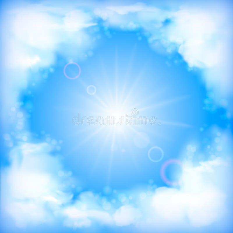Дизайн вектора неба, белые облака, солнце, нерезкость иллюстрация штока