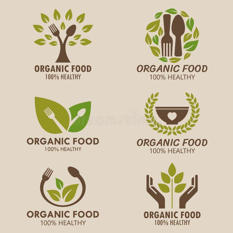 Дизайн вектора логотипа натуральных продуктов или логотипа здоровой еды установленный иллюстрация штока