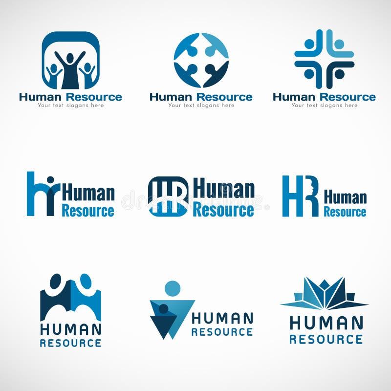 Дизайн вектора логотипа человеческих ресурсов (HR) установленный для дела иллюстрация штока