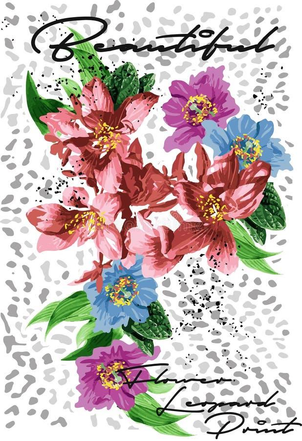Дизайн вектора печати леопарда цветка иллюстрация вектора