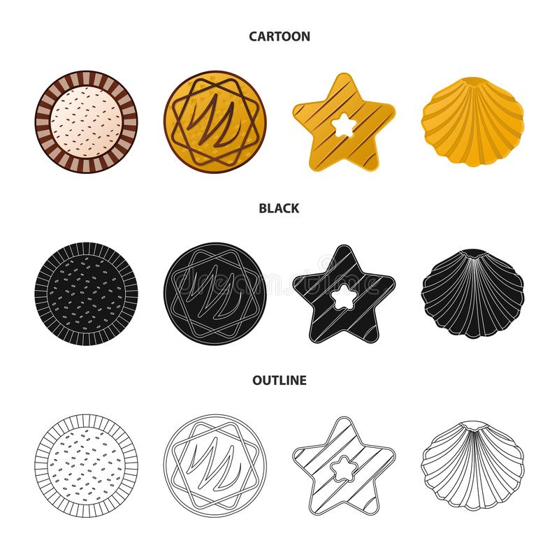 Дизайн вектора печенья и испечь знак Собрание сокращенного названия выпуска акций печенья и шоколада для сети иллюстрация вектора