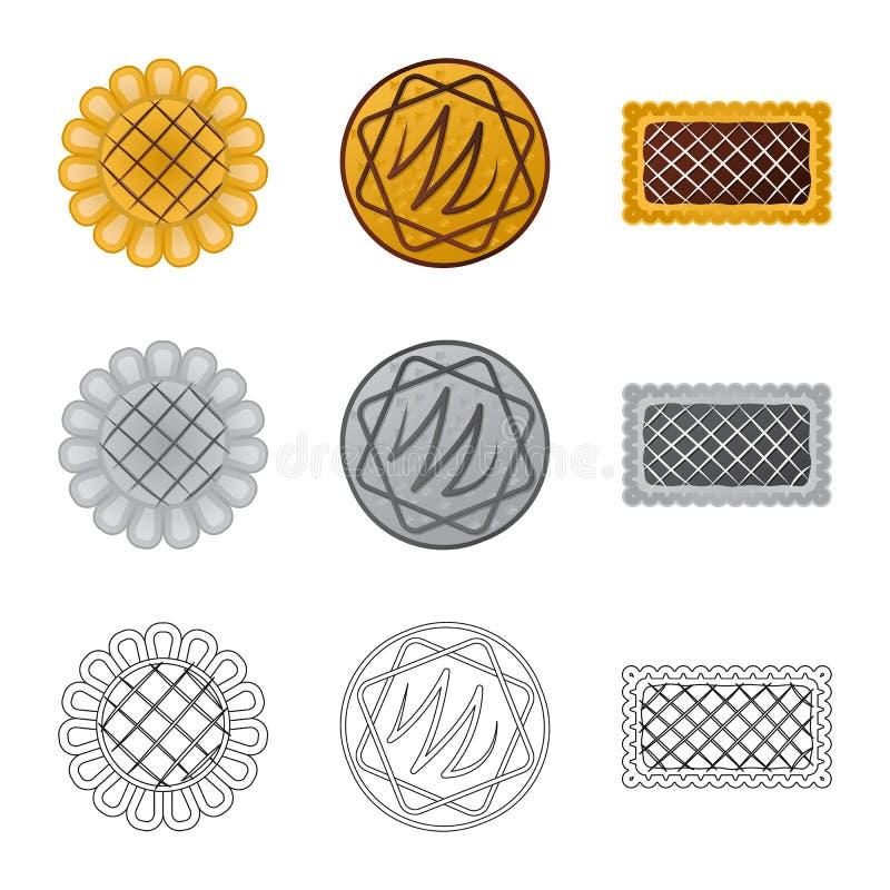 Дизайн вектора печенья и испечь значок Собрание иллюстрации вектора запаса печенья и шоколада иллюстрация штока