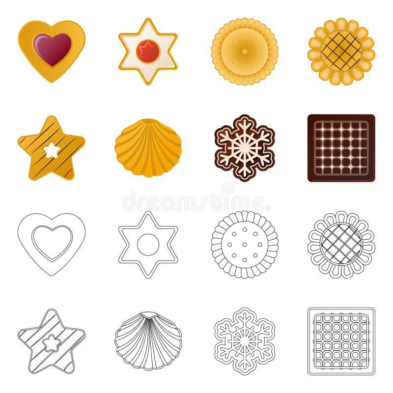 Дизайн вектора печенья и испечь значок Собрание сокращенного названия выпуска акций печенья и шоколада для сети иллюстрация штока
