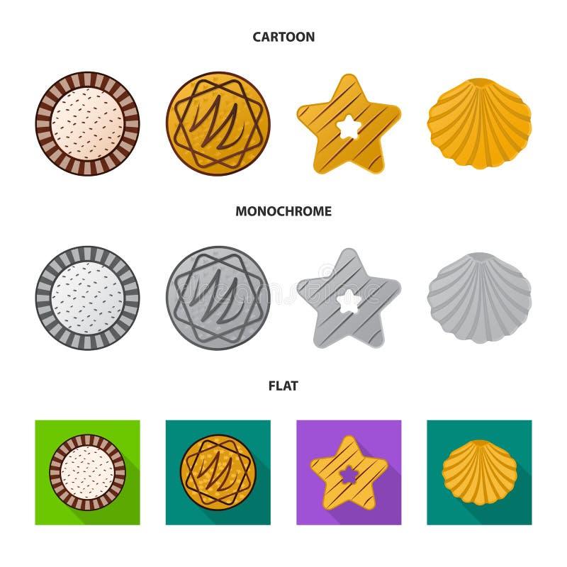 Дизайн вектора печенья и испечь значок Собрание сокращенного названия выпуска акций печенья и шоколада для сети иллюстрация вектора