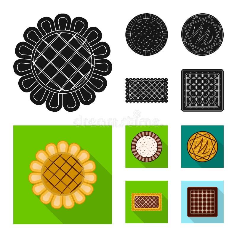 Дизайн вектора печенья и испечь значок Установите сокращенного названия выпуска акций печенья и шоколада для сети иллюстрация штока