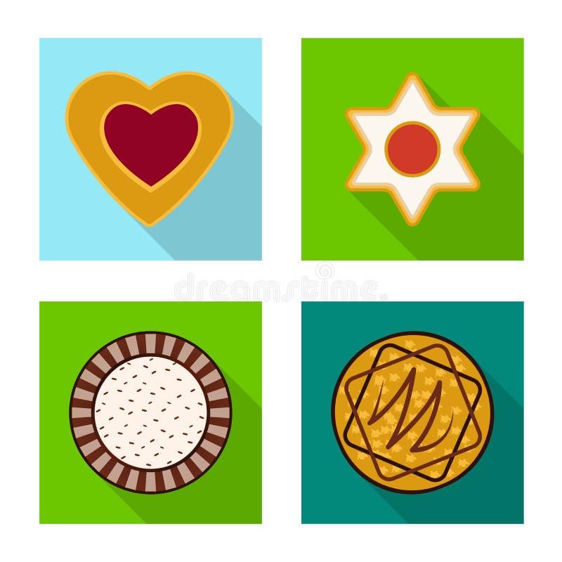 Дизайн вектора печенья и испечь значок Установите сокращенного названия выпуска акций печенья и шоколада для сети иллюстрация вектора
