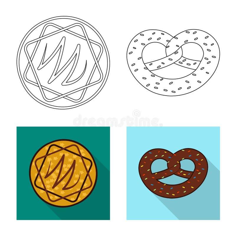Дизайн вектора печенья и испечь логотип Установите значка вектора печенья и шоколада для запаса иллюстрация штока