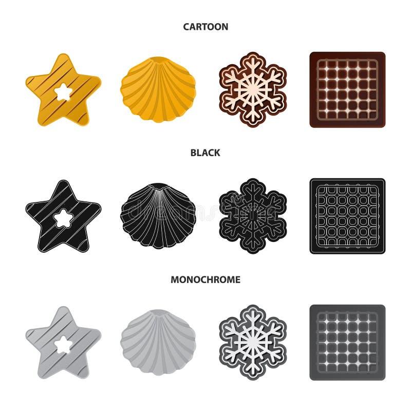 Дизайн вектора печенья и испечь символ Установите сокращенного названия выпуска акций печенья и шоколада для сети иллюстрация вектора