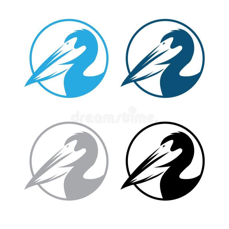 Дизайн вектора пеликана круглыми установленный эмблемами иллюстрация штока