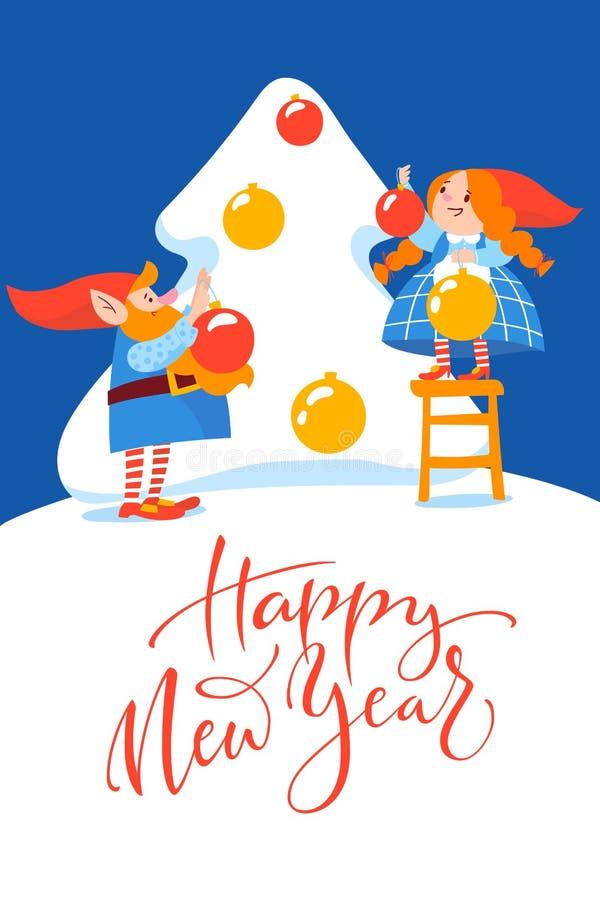 Дизайн вектора плаката рождества с гномами мультфильма украшая рождественскую елку иллюстрация вектора