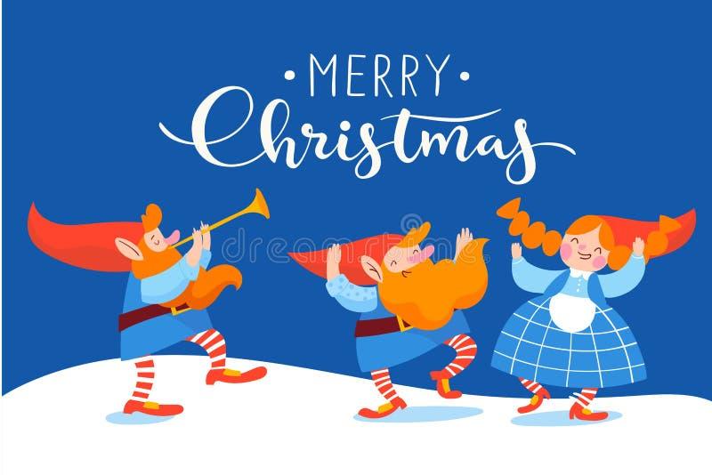 Дизайн вектора плаката рождества с карликами мультфильма танцуя и играя музыка иллюстрация вектора