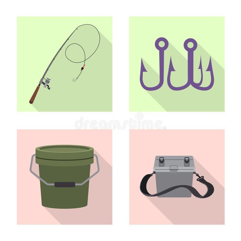 Дизайн вектора рыб и логотипа рыбной ловли Собрание значка вектора рыб и оборудования для запаса иллюстрация штока