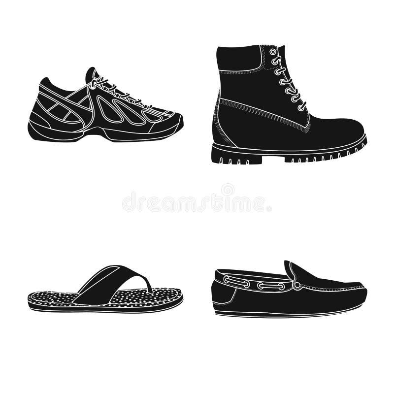Дизайн вектора символа ботинка и обуви Собрание сокращенного названия выпуска акций ботинка и ноги для сети иллюстрация штока