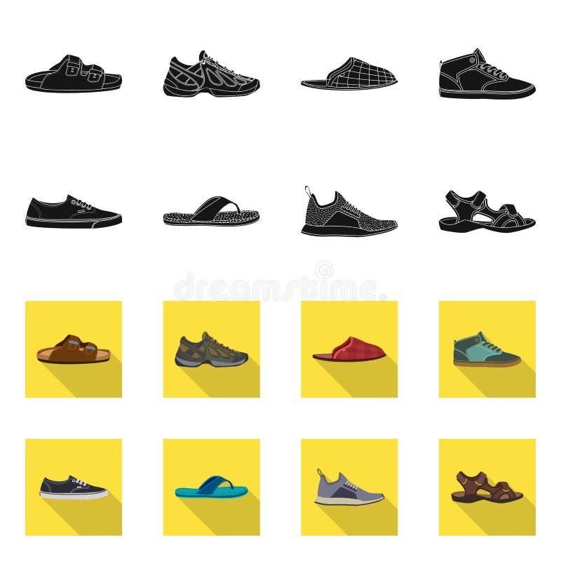 Дизайн вектора символа ботинка и обуви Установите значка вектора ботинка и ноги для запаса иллюстрация штока