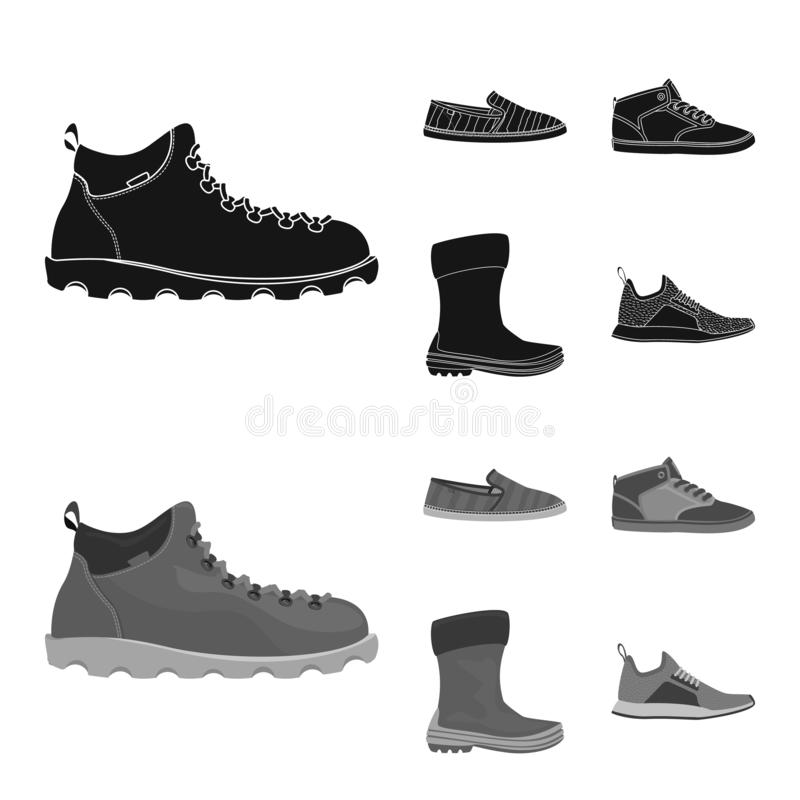 Дизайн вектора символа ботинка и обуви r иллюстрация вектора