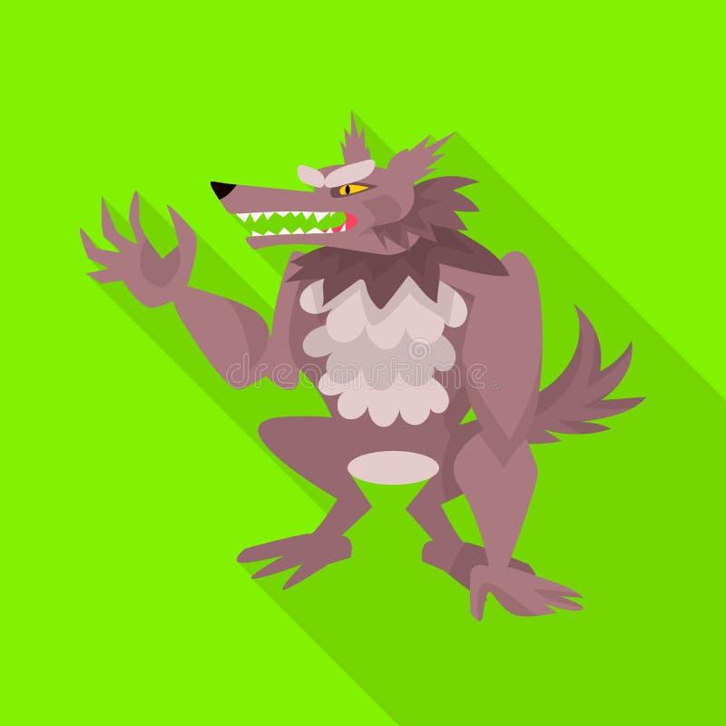 Дизайн вектора символа волка и оборотня Собрание волка и дикий значок вектора для запаса бесплатная иллюстрация
