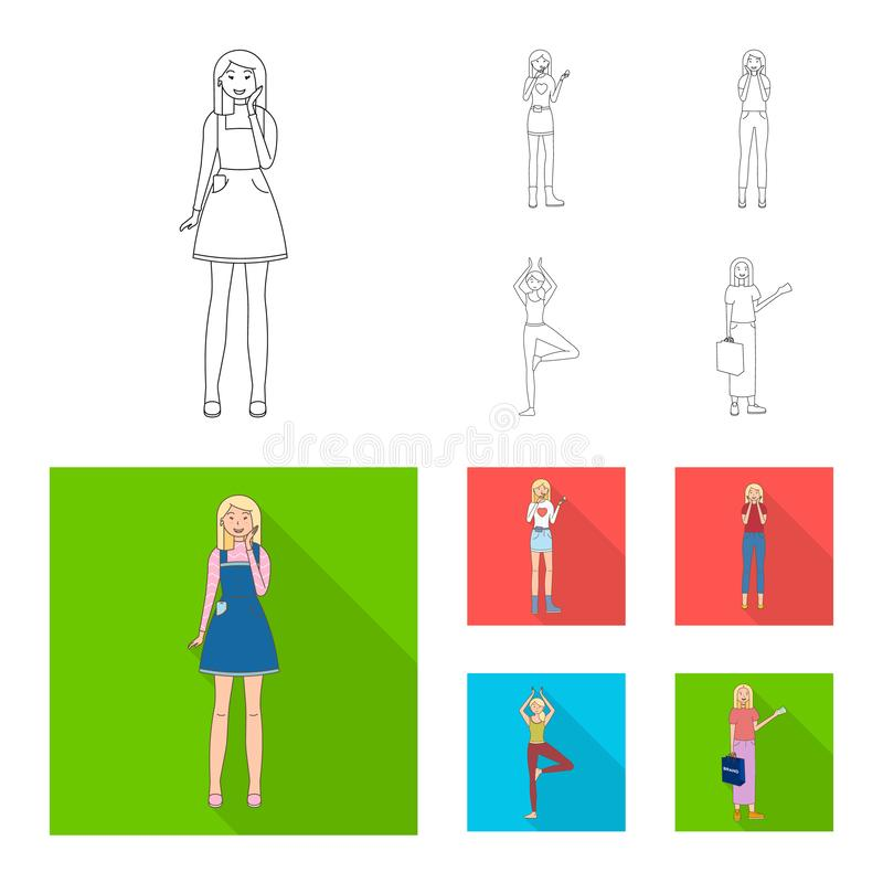 Дизайн вектора символа позиции и настроения Установите позиции и женского сокращенного названия выпуска акций для сети иллюстрация вектора