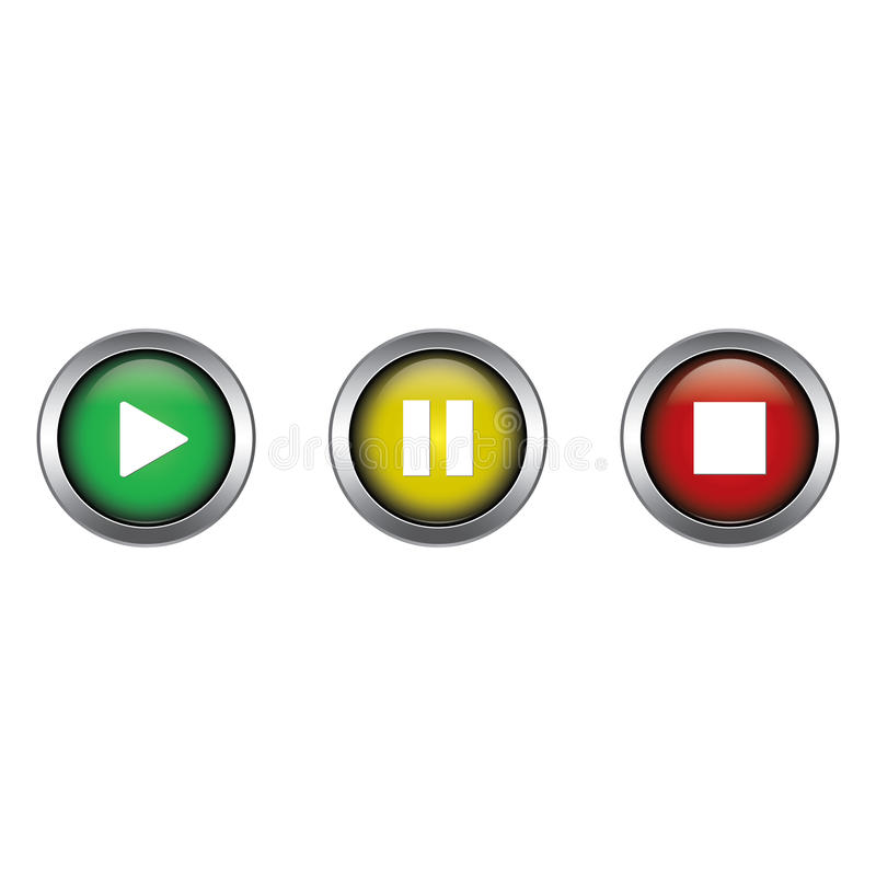 Дизайн вектора собрания сыграйте, перерыва и кнопок стоп иллюстрация вектора