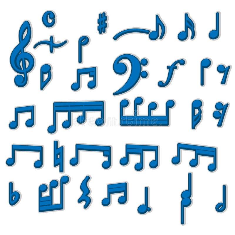Дизайн вектора собрания 3d примечаний музыки иллюстрация штока