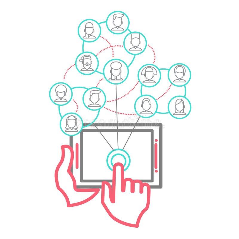 Дизайн вектора социальных людей сети схематический иллюстрация штока
