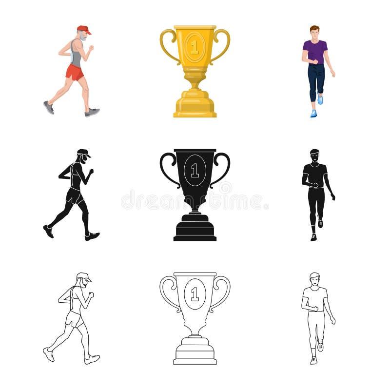 Дизайн вектора спорта и значка победителя Установите сокращенного названия выпуска акций спорта и фитнеса для сети иллюстрация вектора