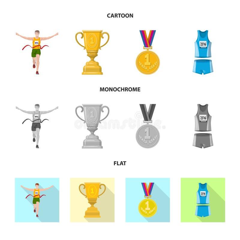 Дизайн вектора спорта и логотипа победителя Установите иллюстрации вектора запаса спорта и фитнеса иллюстрация штока