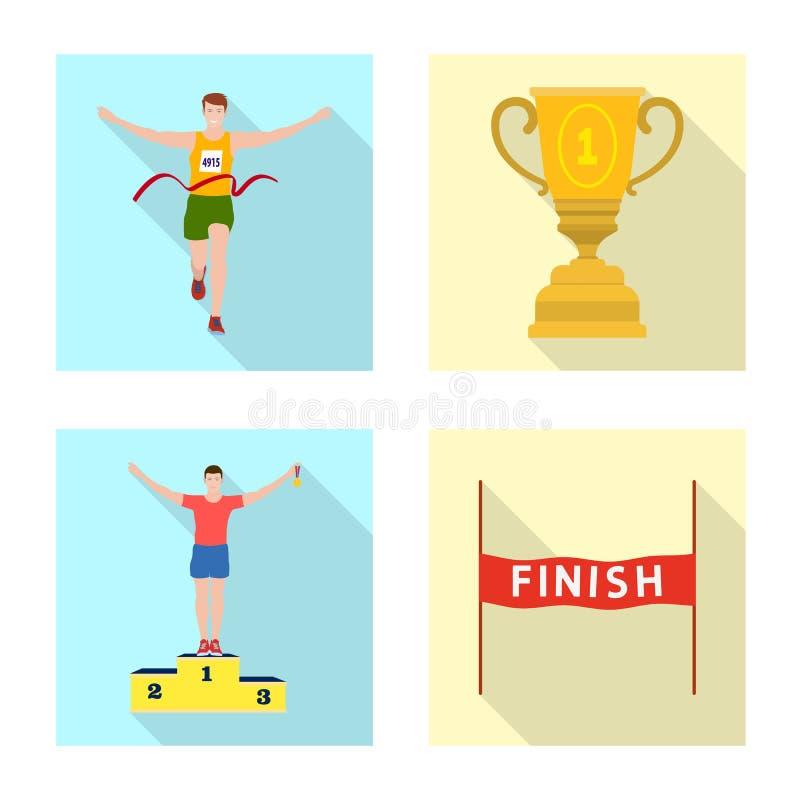 Дизайн вектора спорта и логотипа победителя Установите сокращенного названия выпуска акций спорта и фитнеса для сети иллюстрация штока