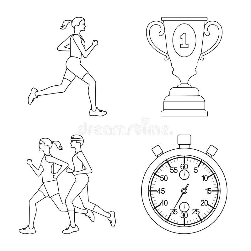 Дизайн вектора тренировки и значка спринтера Собрание значка вектора тренировки и марафона для запаса иллюстрация вектора