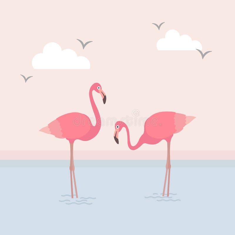 Дизайн вектора фламинго & моря бесплатная иллюстрация