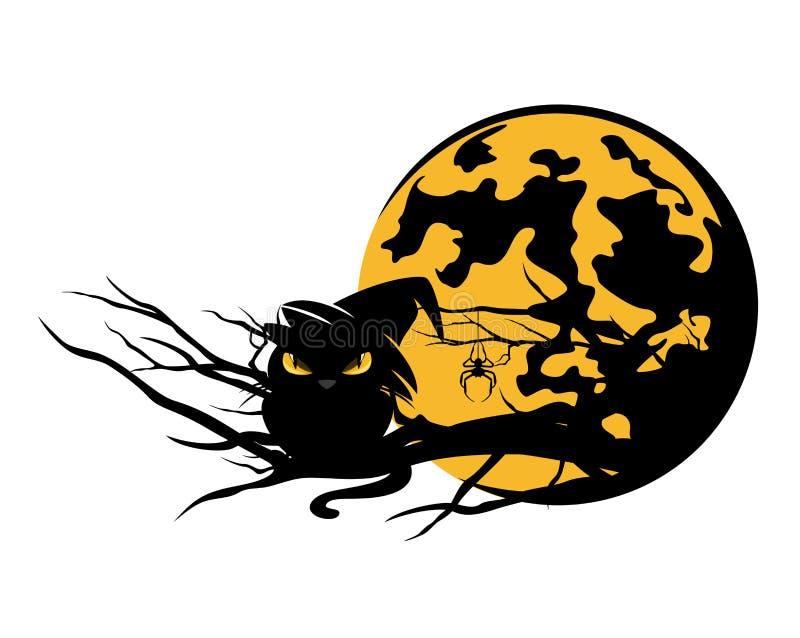 Дизайн вектора хеллоуина черного кота и луны иллюстрация вектора