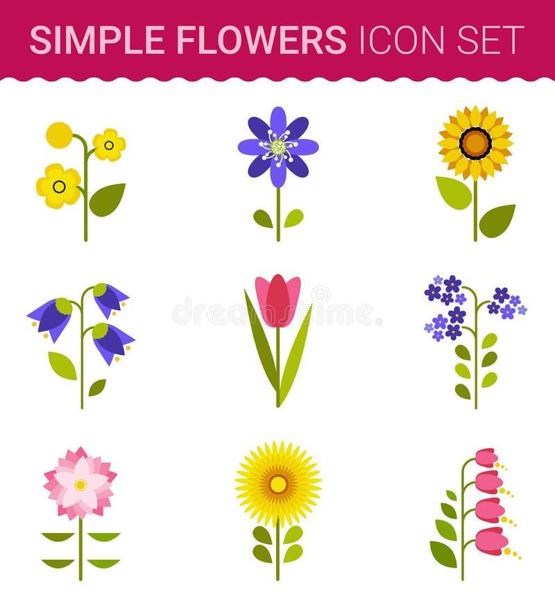 Дизайн вектора цветков Комплект флористического значка иллюстрация штока