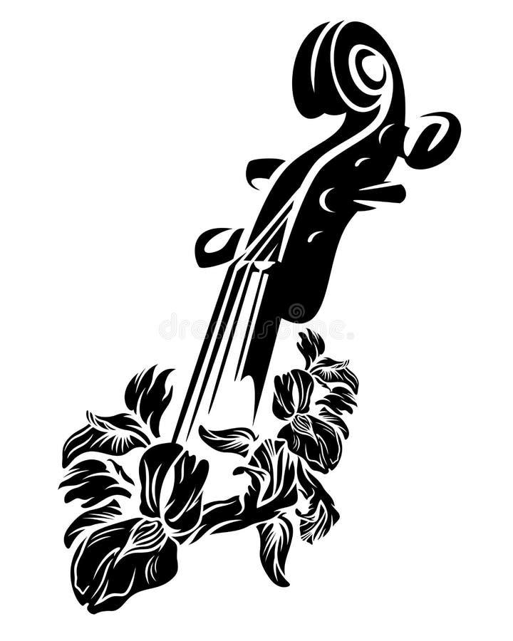 Дизайн вектора цветков скрипки и радужки черный иллюстрация вектора