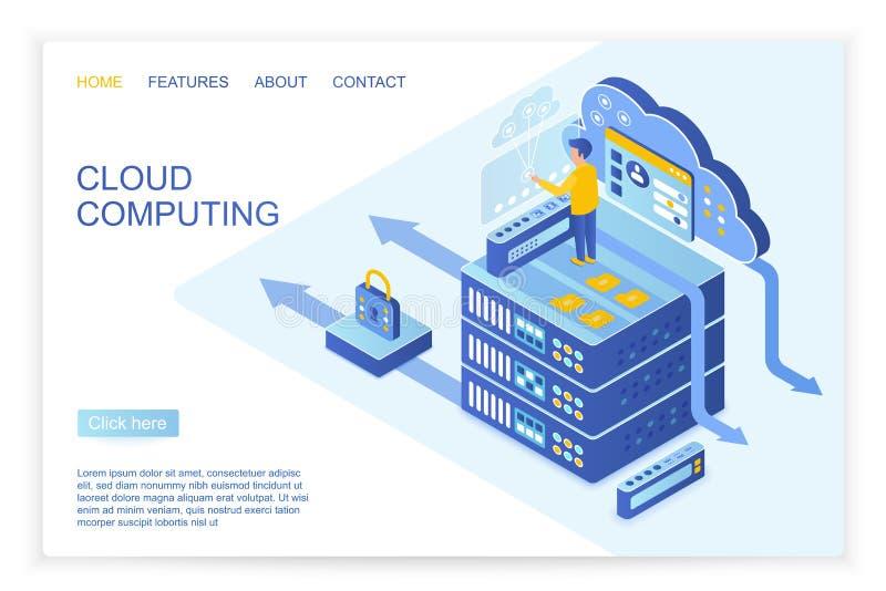 Дизайн вектора человека работая с обеспеченными данными на начале страницы облака вычислить, большой вебсайт данных равновеликий бесплатная иллюстрация