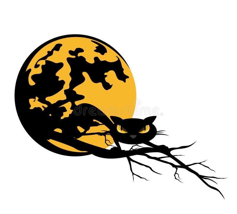 Дизайн вектора черного кота и полнолуния хеллоуина бесплатная иллюстрация