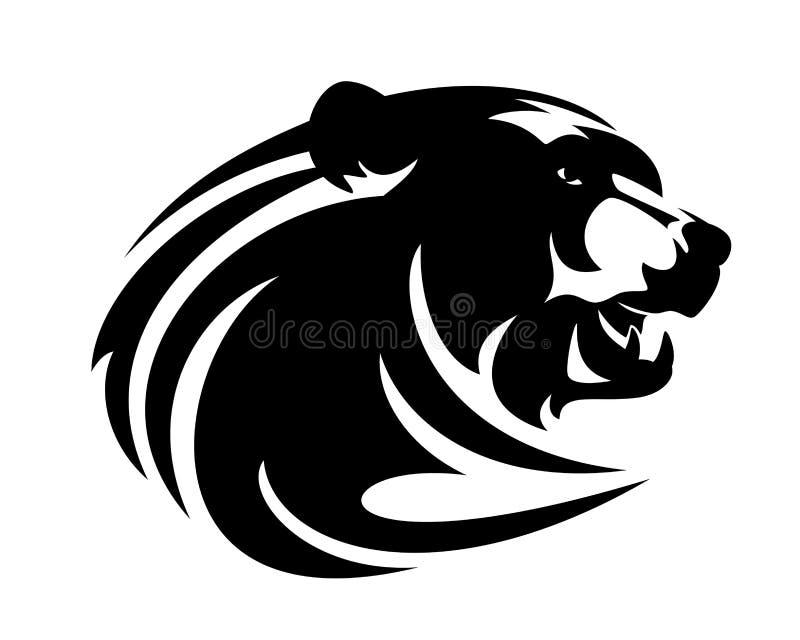 Дизайн вектора черноты головы бурого медведя иллюстрация вектора