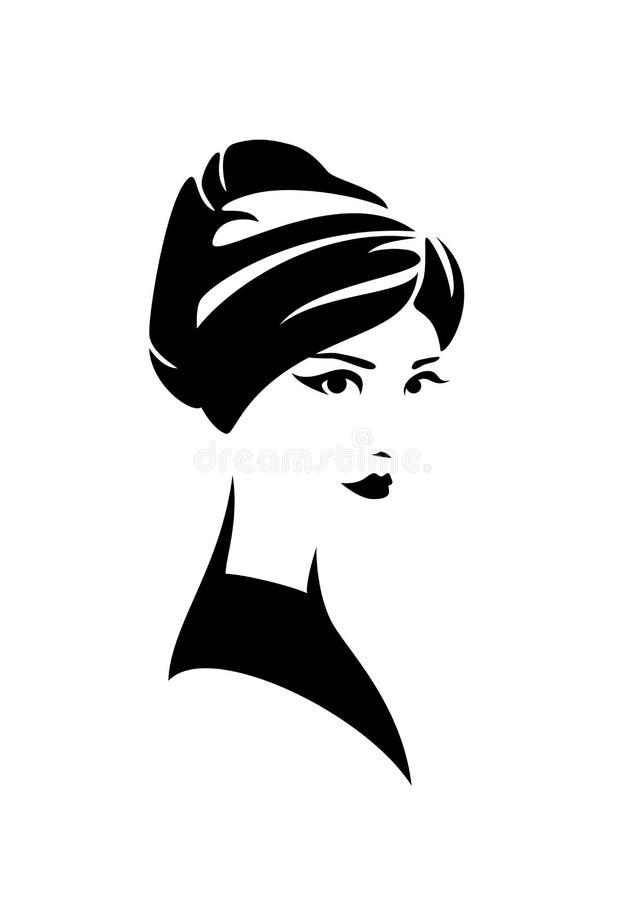 Дизайн вектора черноты шляпы тюрбана женщины нося иллюстрация штока