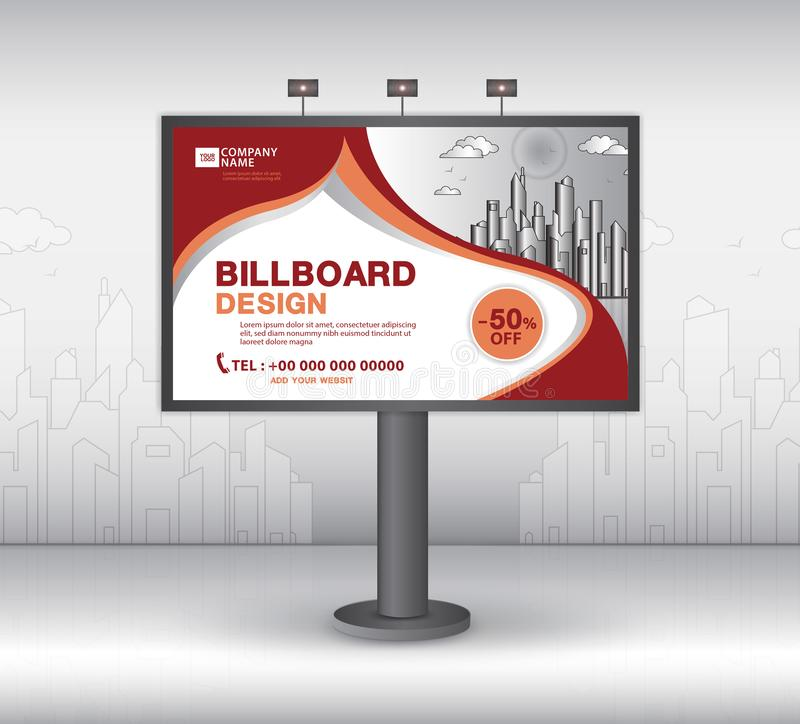 Дизайн вектора шаблона знамени афиши, реклама, реалистическая конструкция для на открытом воздухе рекламы на предпосылке города иллюстрация вектора