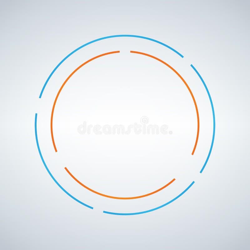 Дизайн вектора 2 circe абстрактный Двойной значок идентичности эмблемы формы круга голубой и оранжевый элемент символа Изолирован иллюстрация штока