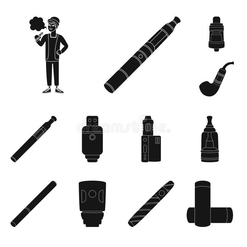 Дизайн вектора e-сигарет и ультрамодного символа Установите e-сигарет и электронной иллюстрации вектора запаса иллюстрация вектора