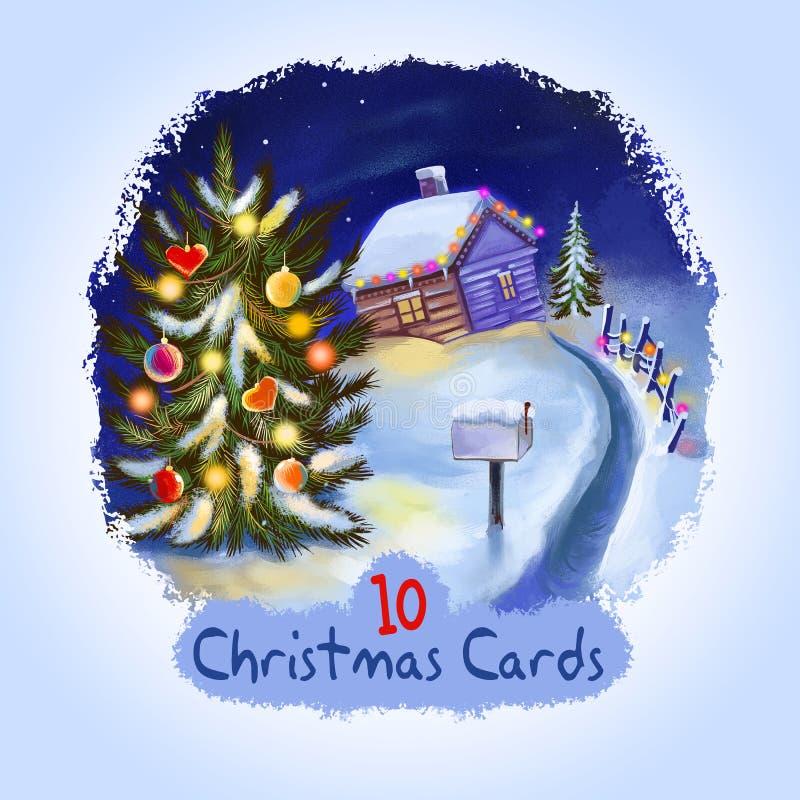 Дизайн веселого рождества и С Новым Годом! поздравительной открытки Дизайн крышки торжества зимних отдыхов Иллюстрация искусства  иллюстрация штока