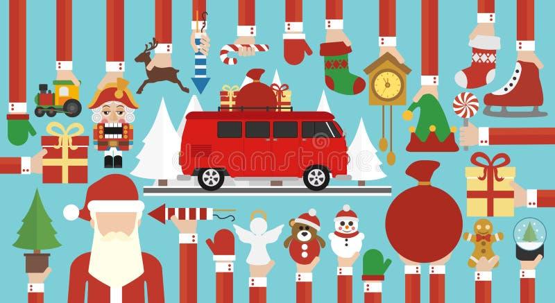 Дизайн веселого рождества плоско с автобусом и Санта Клаусом рождества бесплатная иллюстрация