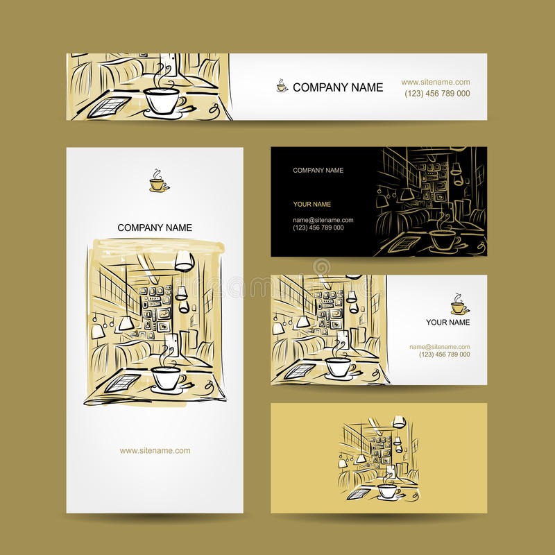 Дизайн визитных карточек, эскиз кофейни иллюстрация штока