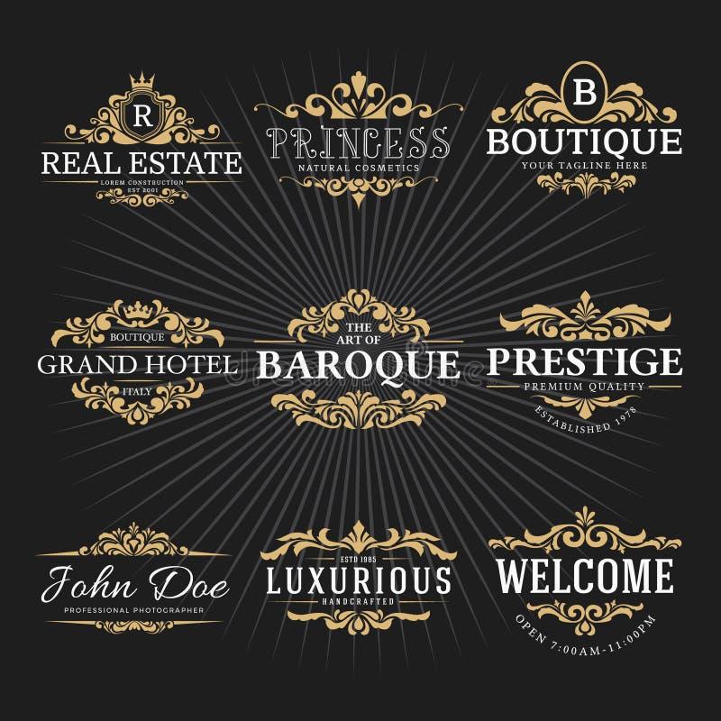 Дизайн винтажного королевского логотипа рамки эффектной демонстрации декоративный иллюстрация вектора