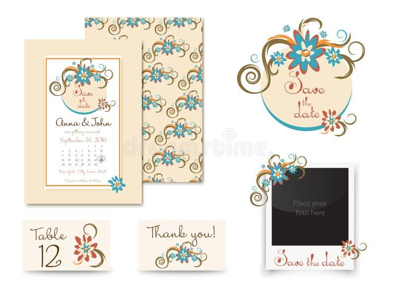 Дизайн винтажного приглашения свадьбы установленный Карточка места вектора шаблона, спасибо карточка, сохраняет рамку значка и фо иллюстрация штока