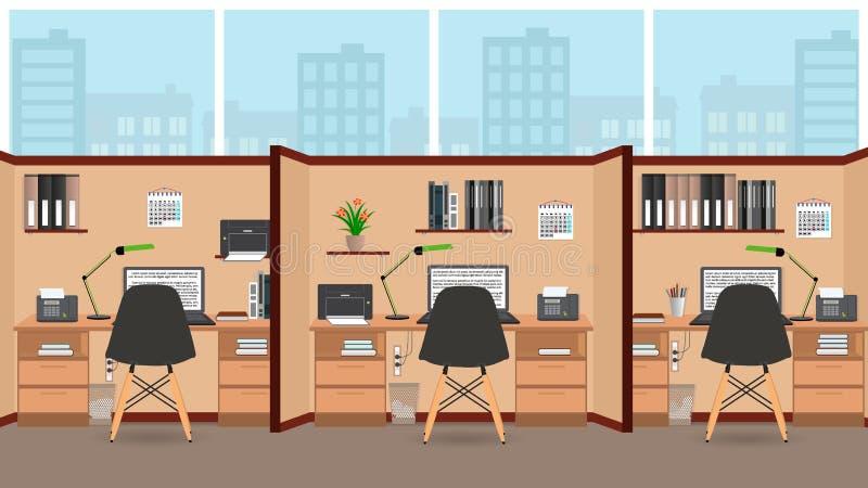Дизайн внутренней комнаты офиса плоский с большим окном включая 3 изолировал места для работы с мебелью бесплатная иллюстрация