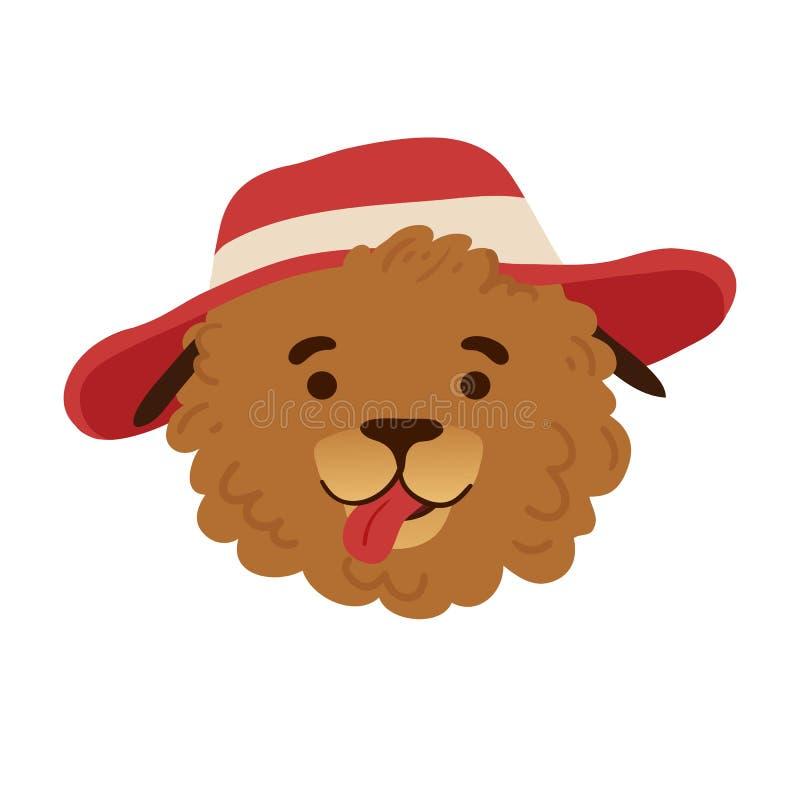 Дизайн воплощения лета с милой собакой шаржа на каникулах в красной шляпе Печать лета с смешной стороной щенка характера бесплатная иллюстрация