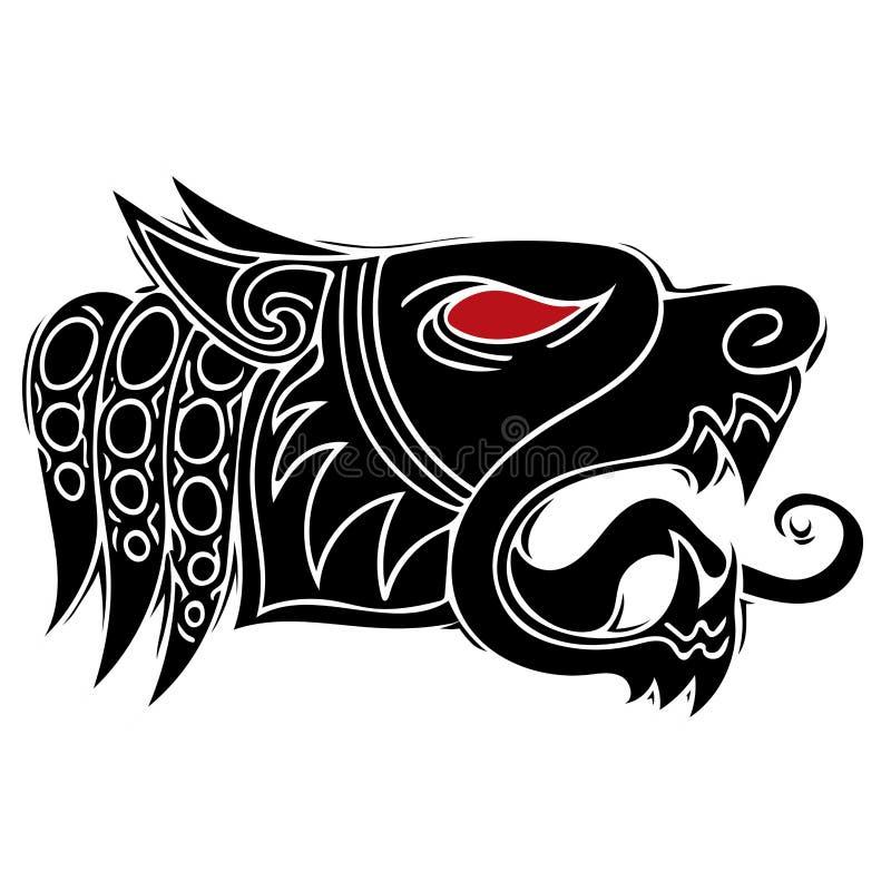 Дизайн вопля волка главный для племенного вектора татуировки иллюстрация штока