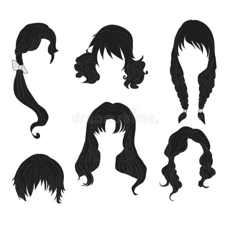Дизайн волос для черноты женщины рисуя установил 4 бесплатная иллюстрация